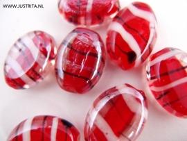 GKR22 Glaskraal plat ovaal rood/wit