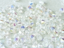 MC Bicone 4mm Crystal AB (per 10)