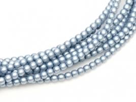 streng glasparels rond 4mm glanzende Cerulean Satin