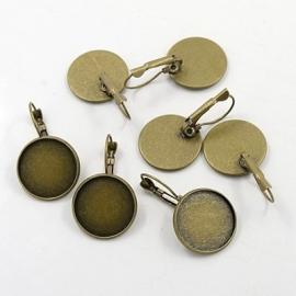 Klapoorbellen oud bronskleur met plakvlak