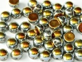 2-hole Cabochon 6 mm Crystal Full Marea (per 8)