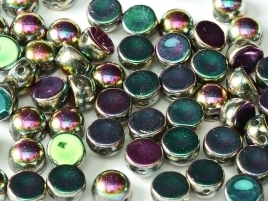 2-hole Cabochon 6 mm Crystal Full Vitrail Green (per 8)