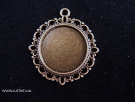 Hanger / Cabochonsetting oud brons 25mm randje