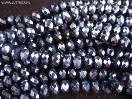 1 streng kristal rondellen 8 bij 6 mm zwart