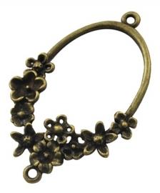 Tusenzetsel met bloemenrand brons