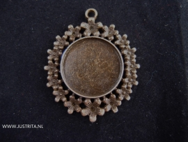 Hanger / cabochonsetting bloemenrand oud brons
