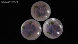 Resin cabochon lila roos 25mm