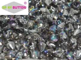 Spiky Button® 4,5 x 6,5 mm Crystal Silver Rainbow (per 14)