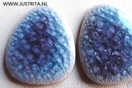 Cabochon crackle porselein paars/blauw