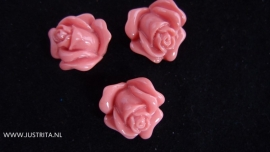 Resin cabochon roosje 14 mm oudroze