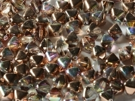 Bicone Beads 6 mm Crystal Copper Rainbow (per 50)