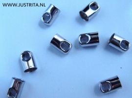Eindkap koord 4mm zilverkleur (10 stuks)