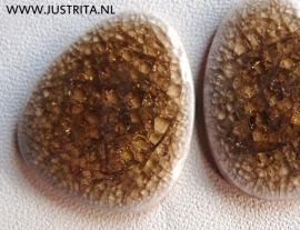 Cabochon crackle porselein donker olijfgroen