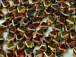 Bicone Beads 6 mm Jet California Gold Rush (per 50)