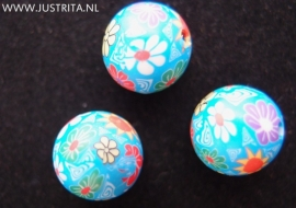Handgemaakte Fimo kraal blauw 12mm (10 stuks)