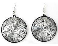 BJO005 Art deco oorbellen zilver/zwart