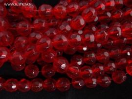 1 streng grote facet glaskralen  mm Rood 12 mm