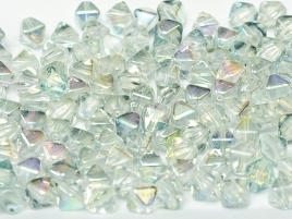 Bicone Beads 6 mm Crystal Blue Rainbow (per 50)