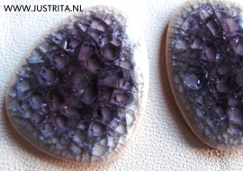 Cabochon crackle porselein paars