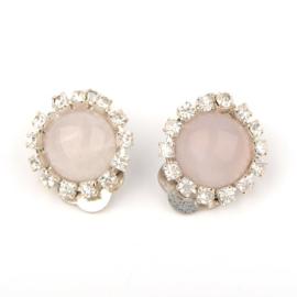 Oorclips rozenkwarts en kristal