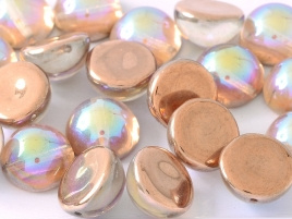 Dome Beads 12 x 7 Crystal Copper Rainbow (per 5)