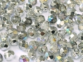 FP Facet 4mm Crystal Silver Rainbow (per 50)