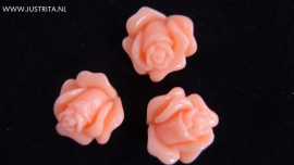Resin cabochon roosje 14 mm zalm