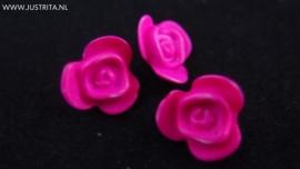 Resin roosje fuchcia roze 14.5 mm (10 stuks)