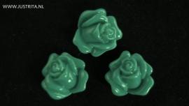 Resin cabochon roosje 14 mm groen