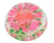 Resin cabochon droogbloem rood/roze