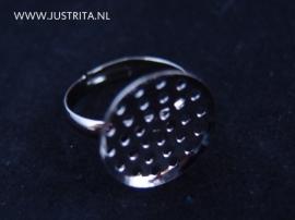 Ring met zeefje black silver