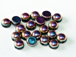 2-hole Cabochon 6 mm Jet Full Sliperit (per 8)
