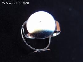 Zilverkleurige ring met plakvlak 14mm