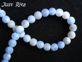Blauwe Frosted Agate 6mm