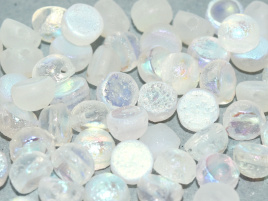 2-hole Cabochon 6 mm Crystal Etched AB Full (6 stuks)