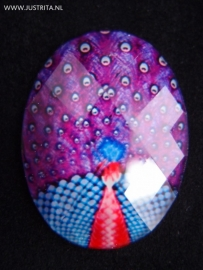 "Resin cabochon ""pauw"" paars/blauw"