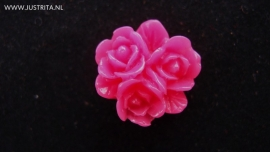 Resin cabochon fel roze  roosjes 16mm