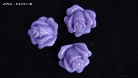 Resin cabochon roosje 14 mm lavendel