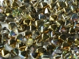 Bicone Beads 6 mm Crystal Golden Rainbow (per 50)