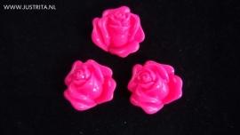 Resin cabochon roosje 14 mm fuchsia roze