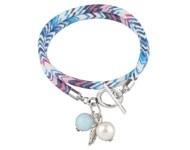 BJA003 Wrap armband blauw/roze/wit