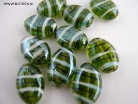 GKG21 Glaskraal plat ovaal groen/wit