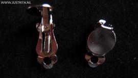 Clip oorbellen met plakvlak zilverkleur