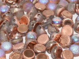 2-hole Cabochon 6 mm Crystal Etched Copper Rainbow (6 stuks)
