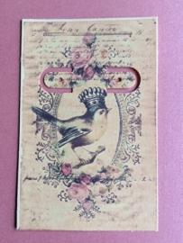 Handgemaakt oorbelkaartje vogel