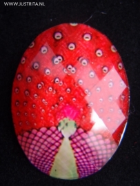 "Resin Cabochon ""pauw"" Rood"