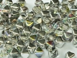 Bicone Beads 6 mm Crystal Silver Rainbow (per 50)