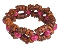 Armband hout bruin/fuchsia