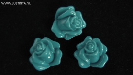 "Resin cabochon roosje 14 mm ""teal"""