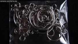Ringenmix  zilverkleur 25 gram